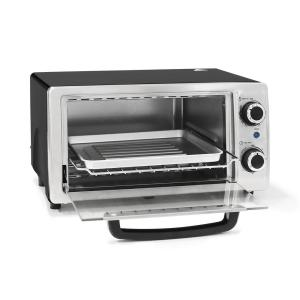 4-Slice Stainless Steel/Black 3-in-1 Toaster Oven by
