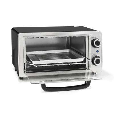 4-Slice Stainless Steel/Black 3-in-1 Toaster Oven