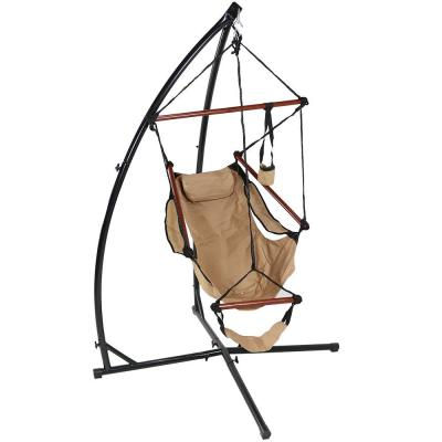 3.75 ft. L Hanging Hammock Chair with X-Stand in Tan
