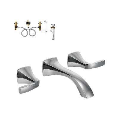Voss 2-Handle Wall-Mount Bathroom Faucet with Valve in Chrome