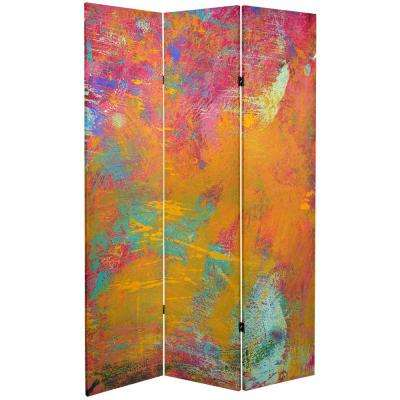 6 ft. Multi Colored Color Wheel 3-Panel Room Divider