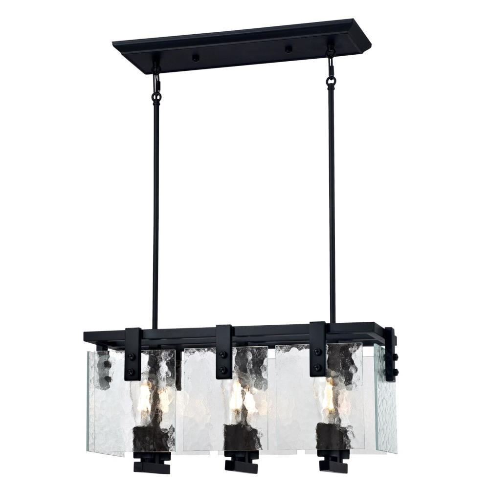 lowest price c807b 3b248 Westinghouse Zane 6-Light Matte Black Chandelier with Clear Water Glass  Shades