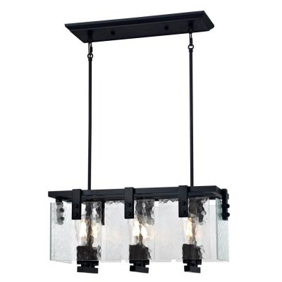Zane 6-Light Matte Black Chandelier with Clear Water Glass Shades