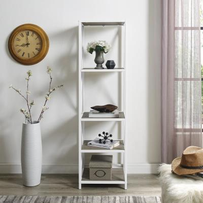 61 in. Gray Wash/White Metal 4-shelf Etagere Bookcase with Open Back