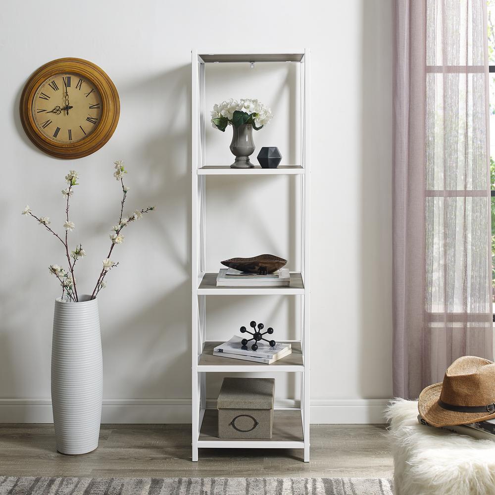 61 in. Grey Wash, White Metal Modern Farmhouse Metal Wood Bookcase
