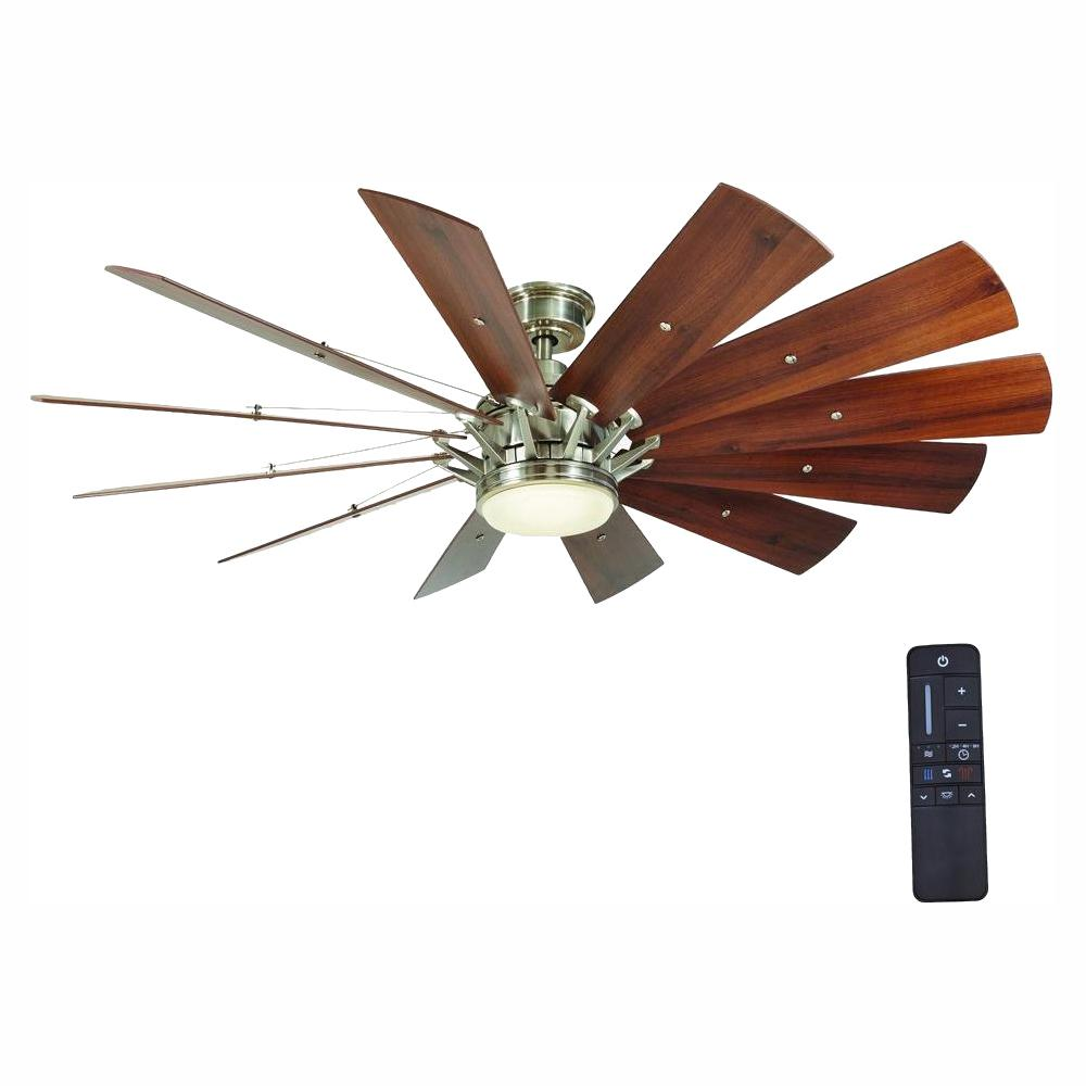 Home Decorators Collection Trudeau 60 In Led Indoor Brushed Nickel Ceiling Fan With Light Kit And Remote Control Yg545 Bn The Home Depot