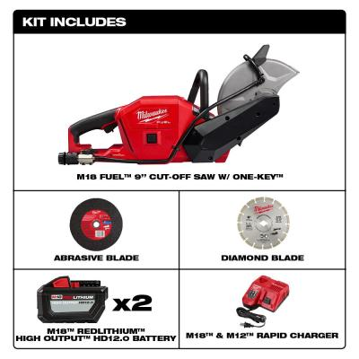 M18 FUEL ONE-KEY 18-Volt Lithium-Ion Brushless Cordless 9 in. Cut Off Saw Kit W/ (2) 12.0Ah Batteries & Rapid Charger