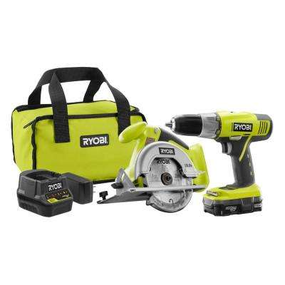 18-Volt ONE+ Lithium-Ion 2-Tool Combo Kit with Drill, Circular Saw, 1.3 Ah Battery, Dual Chemistry Charger and Tool Bag