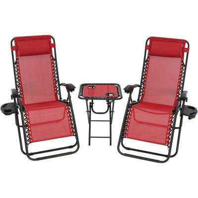 Zero Gravity Red Sling Beach Chairs with Side Table (Set of 2)