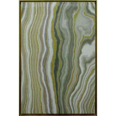"24 in. x 36 in. ""Glitter Veins Agate-Green"" Framed Wall Art"