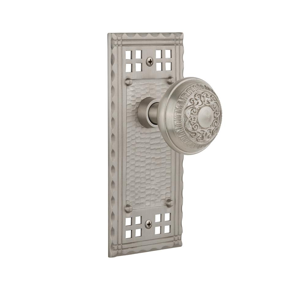 Craftsman Plate 2-3/8 in. Backset Satin Nickel Passage Hall/Closet Egg and