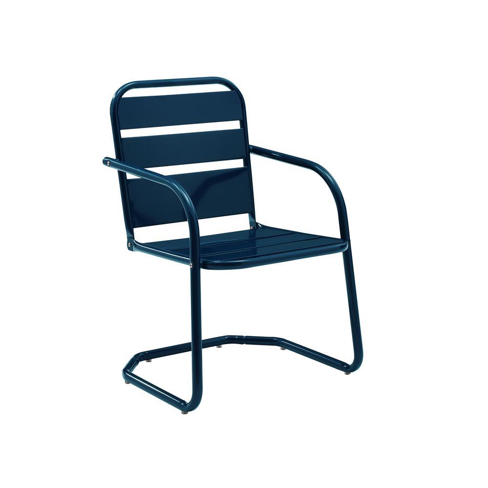 Brighton Navy Metal Outdoor Lounge Chair (2-Pack)