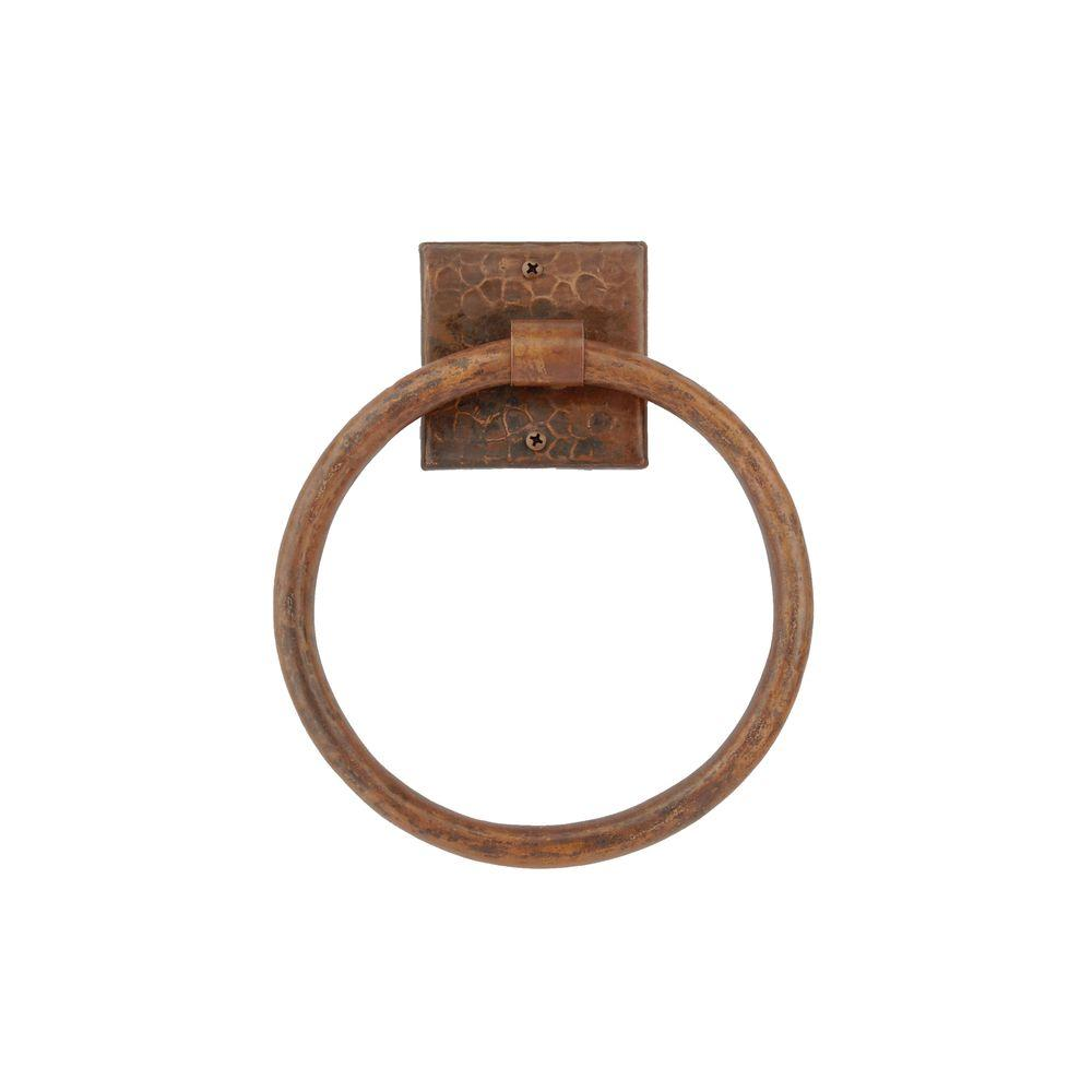 Premier Copper Products 7 in. Hand Hammered Copper Towel Ring in Oil Rubbed Bronze