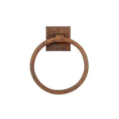 7 in. Hand Hammered Copper Towel Ring in Oil Rubbed Bronze