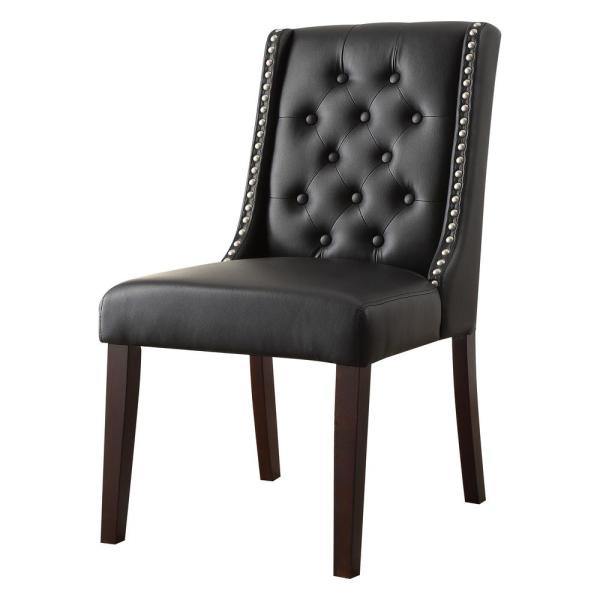 Acme Furniture Brenda Black Leatherette and Walnut Side Chair (Set of