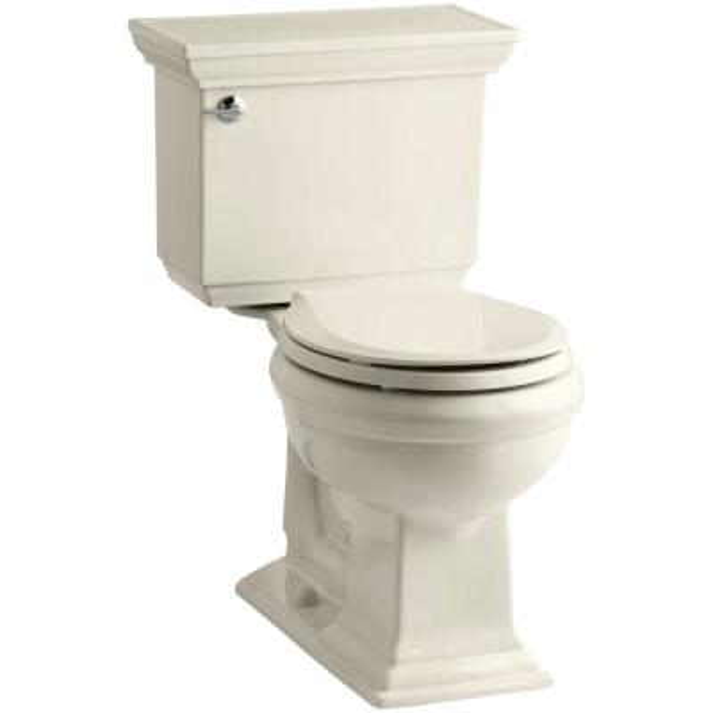 Memoirs Stately 2-piece 1.28 GPF Single Flush Round Toilet with AquaPiston Flushing Technology in Almond