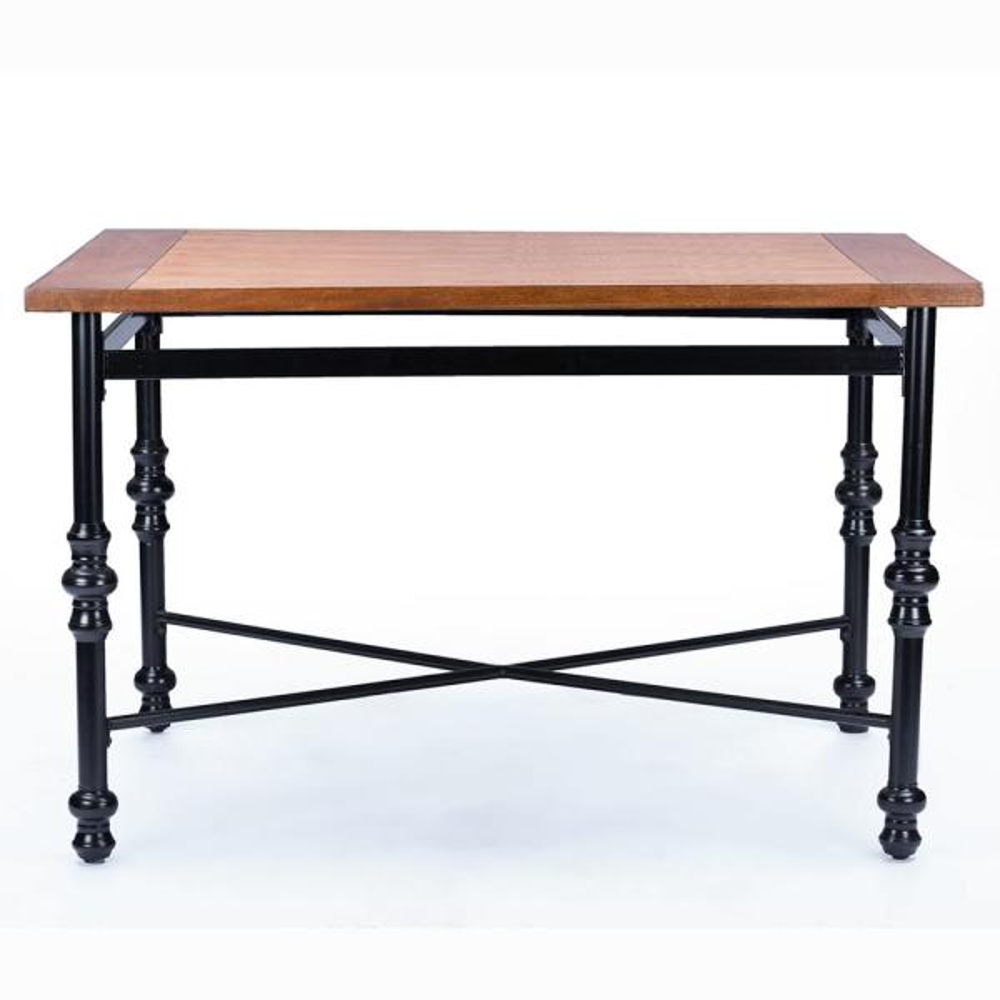 Baxton Studio Broxburn Light Brown Wood and Metal Dining Table 6054-6055-HD