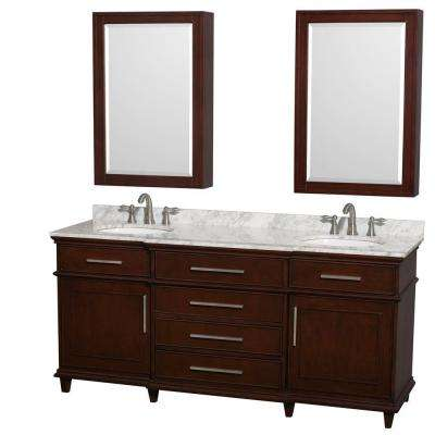 Berkeley 72 in. Double Vanity in Dark Chestnut with Marble Vanity Top in White Carrara and Round Sinks