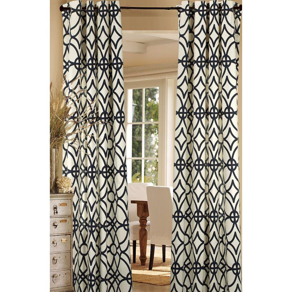 LR Resources Semi-Opaque Harlequin Navy Blue Cotton and Polyester Half Panama Curtain 50 in. W x 84 in. L