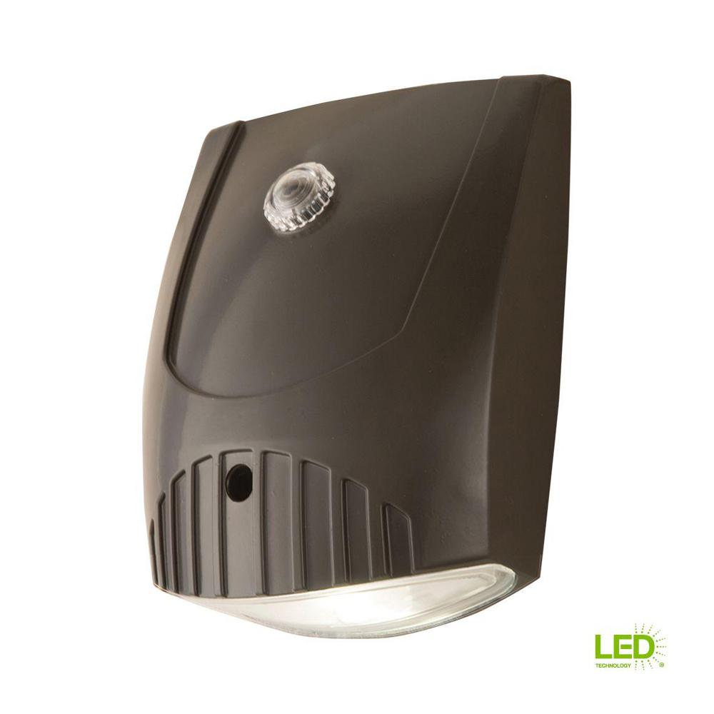 Bronze Integrated LED Outdoor Wall Pack Light with Dusk to Dawn