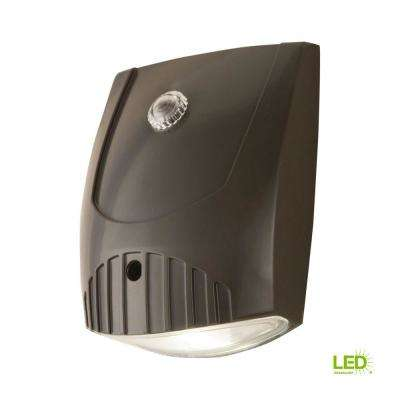 Bronze Integrated LED Outdoor Wall Pack Light with Dusk to Dawn Photocell Sensor, 1000 Lumens, 5000K Daylight
