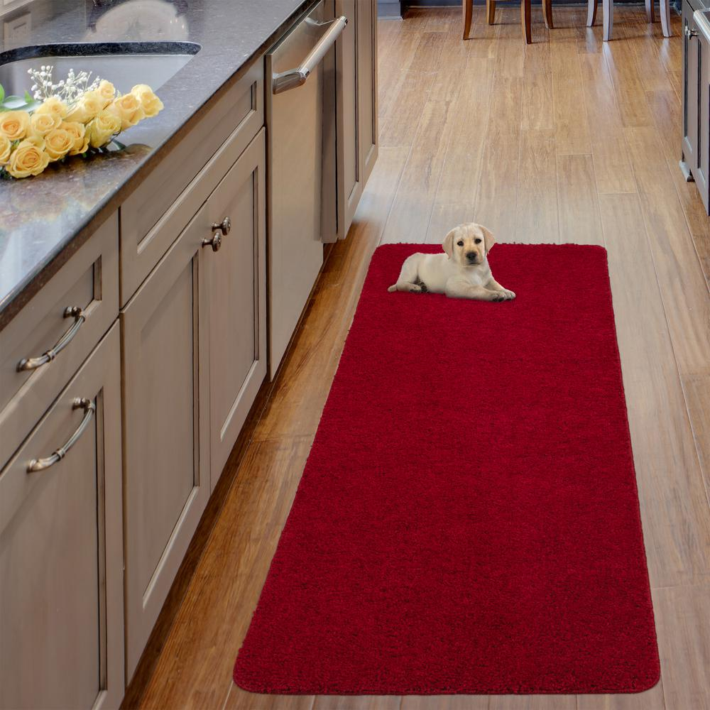 Ottomanson Luxury Shaggy Collection Shag Solid Design Red 2 ft. x 5 ft. Runner Rug