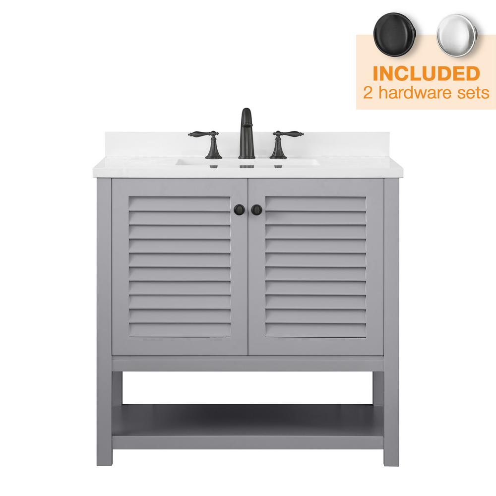 Home Decorators Collection Grace 36 in. W x 22 in. D Bath Vanity in Pebble Grey with Cultured Marble Vanity Top in White with White Basin