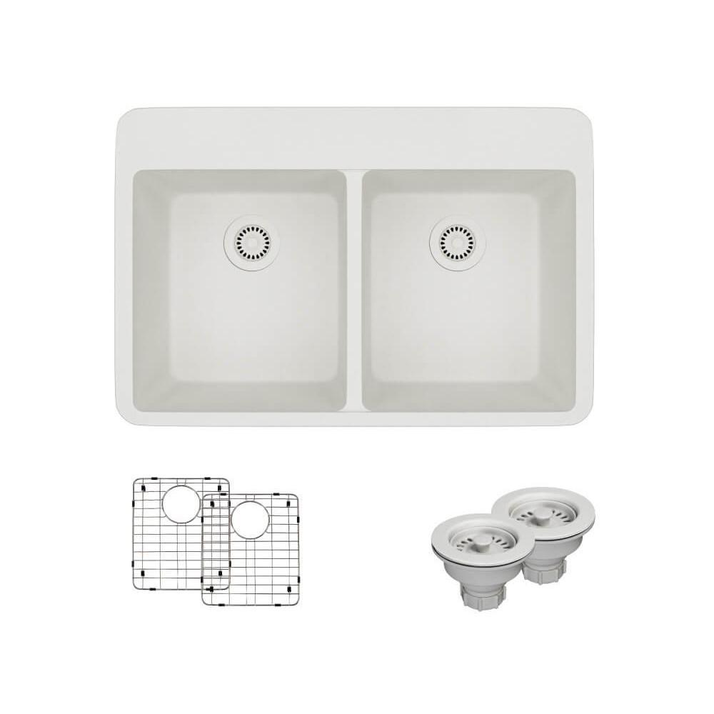 Drop-In Quartz 33 in. Double Bowl Kitchen Sink in Ivory