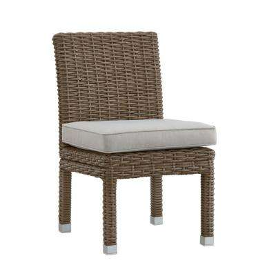Camari Mocha Armless Wicker Outdoor Dining Chair with Beige Cushion (Set of 2)