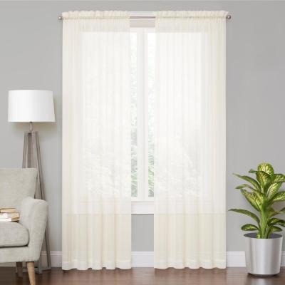 Voile Cream Sheer Window Curtain - 59 in. W x 84 in. L