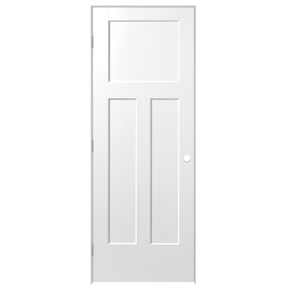 Masonite 30 in. x 80 in. Winslow 3-Panel Left-Handed Hollow-Core Primed Composite Single Prehung Interior Door