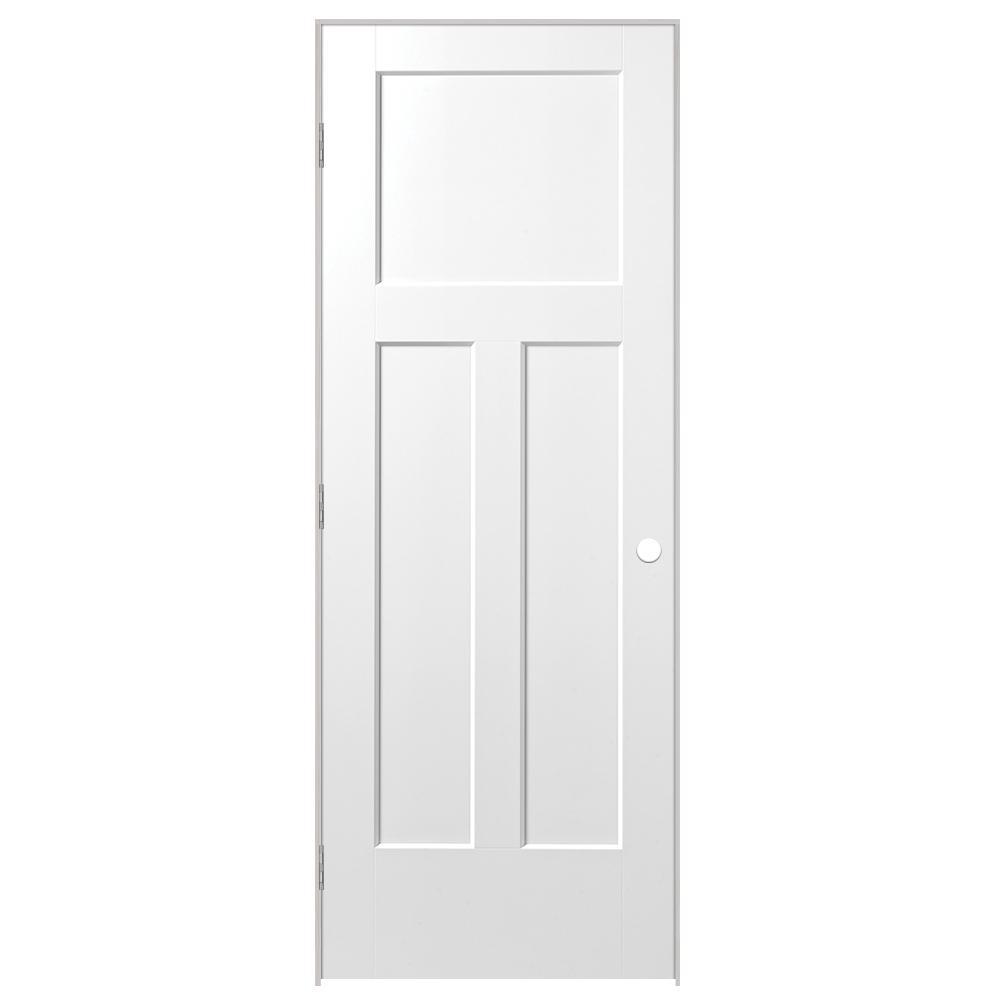 30 in. x 80 in. Winslow 3-Panel Right-Handed Hollow-Core Primed Composite Single Prehung Interior Door