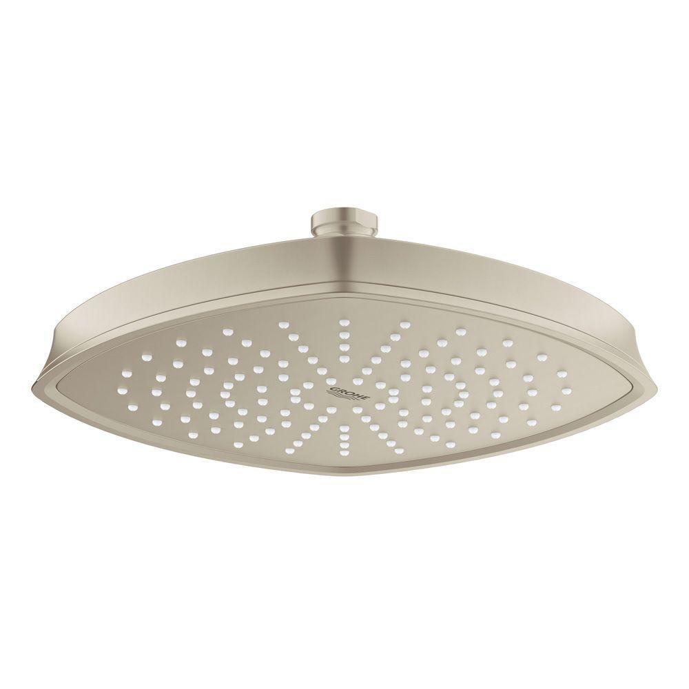 Grandera Rainshower 1-Spray 8.6875 in. Raincan Ceiling Showerhead in Brushed Nickel InfinityFinish