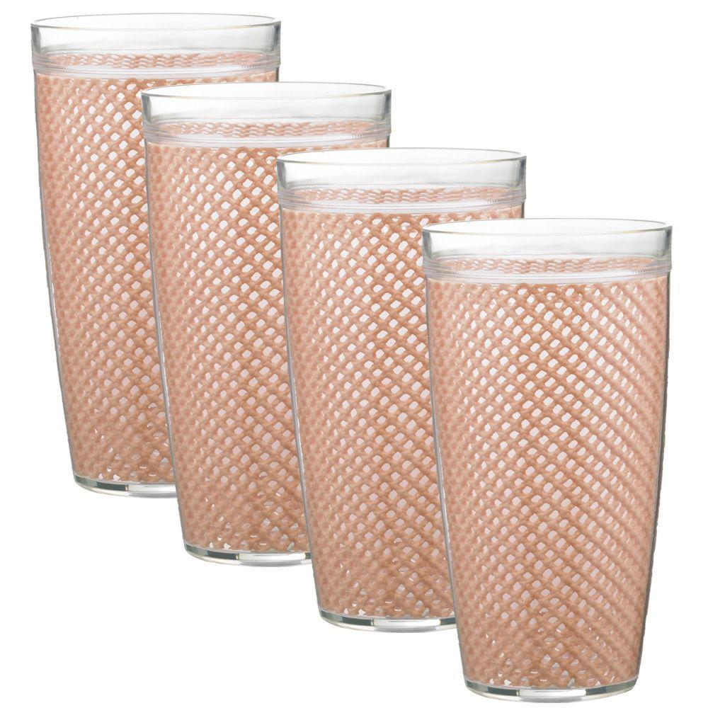 Kraftware Fishnet 24 oz. Taupe Insulated Drinkware (Set of 4)