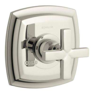 Margaux 1-Handle Thermostatic Valve Trim Kit in Vibrant Polished Nickel with Cross Handle (Valve Not Included)