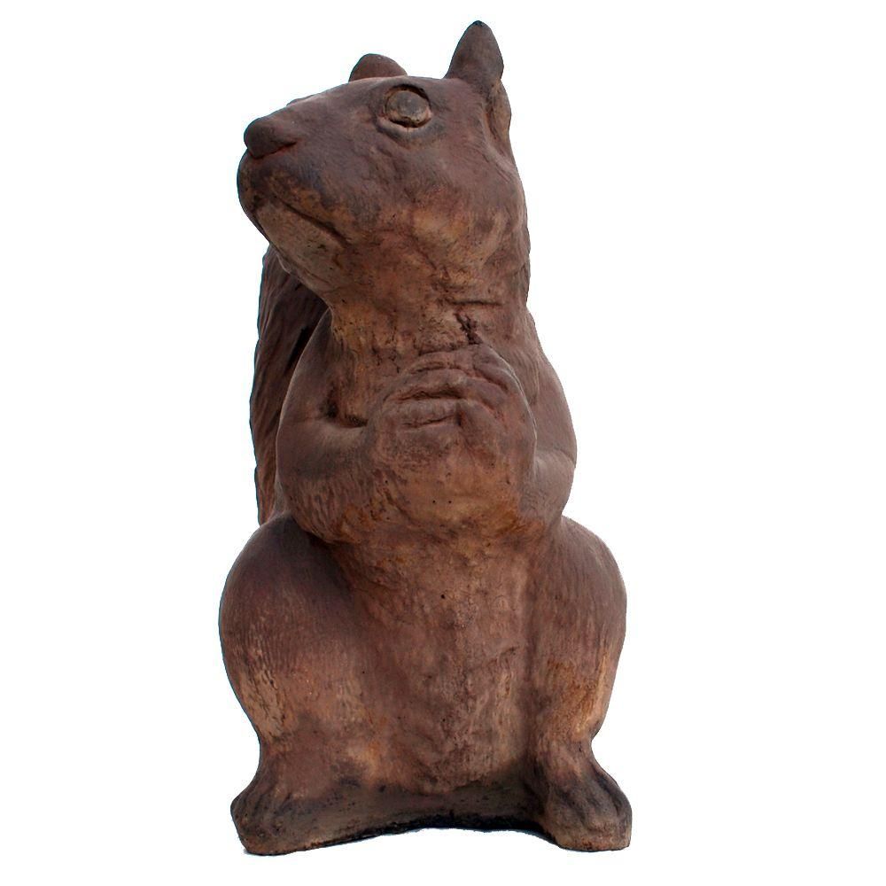 Cast Stone Sitting Squirrel Garden Statue - Dark Walnut