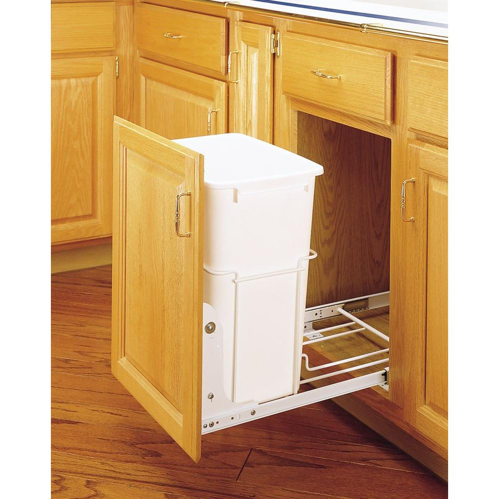 Rev-A-Shelf 19.25 in. H x 14.38 in. W x 22 in. D Single 35 Qt. 14-3/Wide Pull-Out White Waste Container with 3/4 Extension Slides