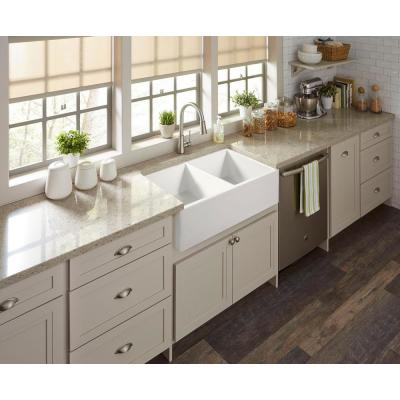 Brooks II All-in-One Farmhouse/Apron-Fireclay 33 in. 50/50 Double Bowl Kitchen Sink with Pfister Faucet and Drains