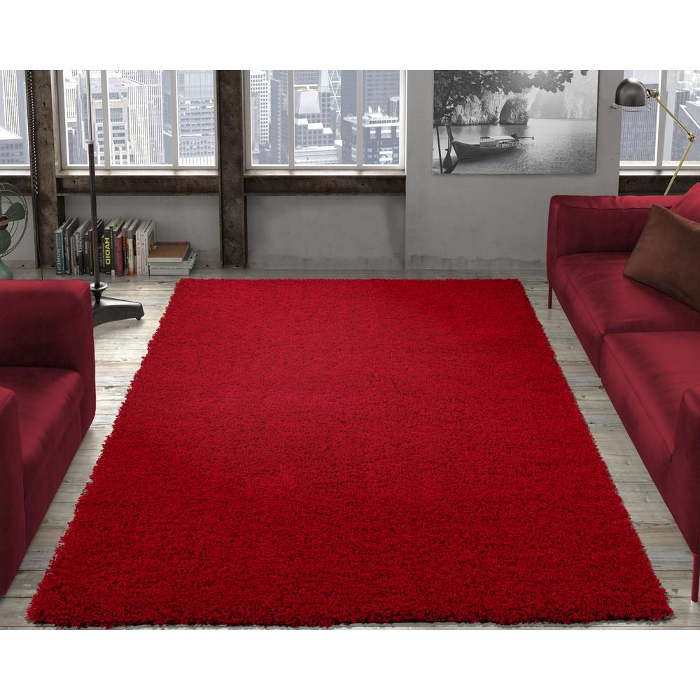 Ottomanson Contemporary Solid Dark Red 5 Ft X 7 Ft Shag Area Rug
