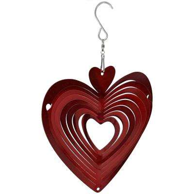 6 in. Whirligig Heart Outdoor Wind Spinner with Hook