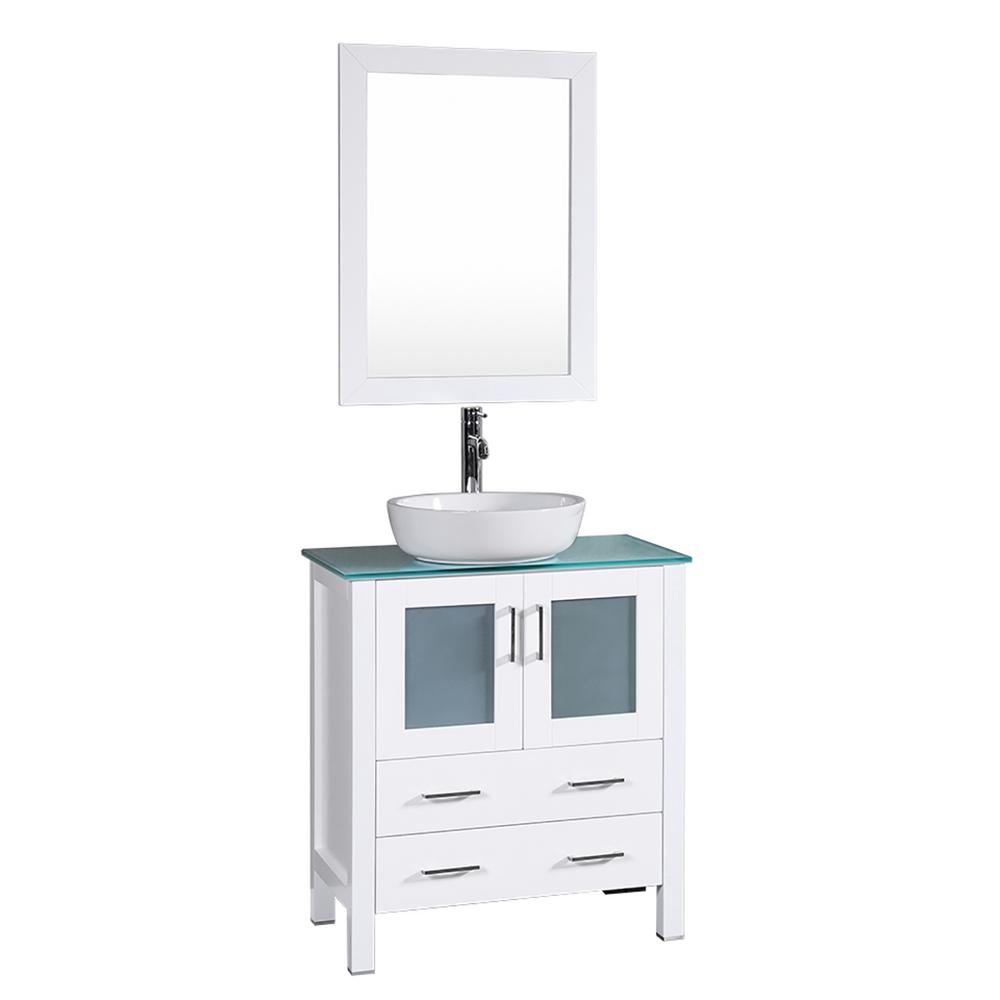 Bosconi 30 In W Single Bath Vanity White With Tempered Gl Top Basin And Mirror