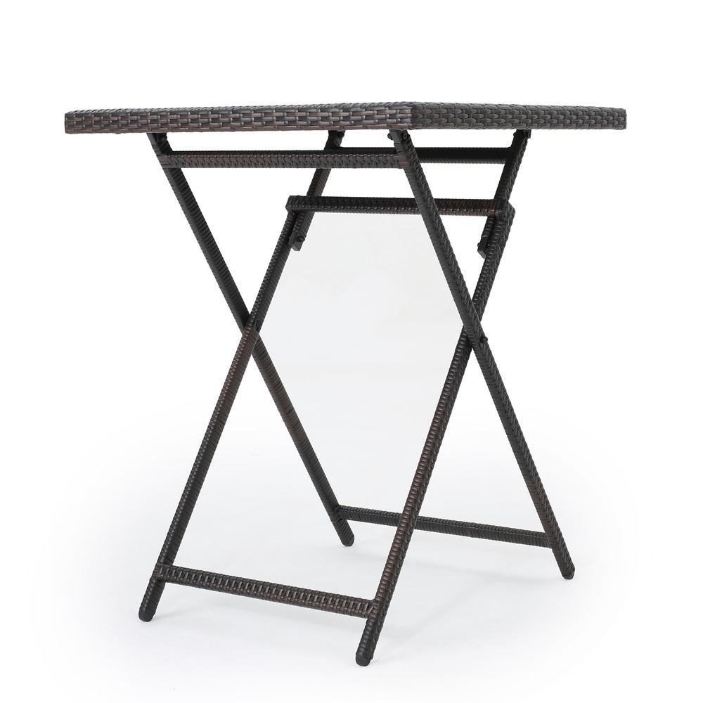 Emmett Multibrown Square Wicker Outdoor Bistro Table