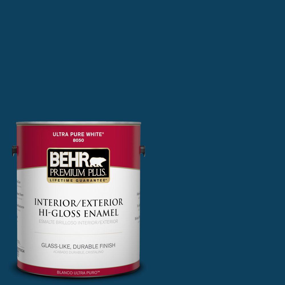 BEHR Premium Plus 1-gal. #ECC-53-3 Outer Space Hi-Gloss Enamel Interior/Exterior Paint