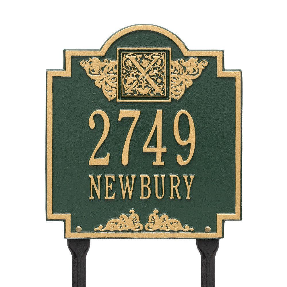 Whitehall Products Monogram Standard Lawn Square Green/Gold 2-Line Address Plaque