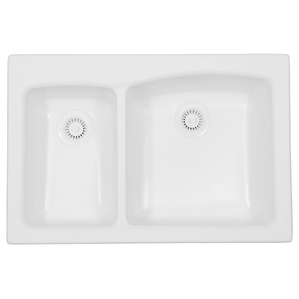 Karran Self-Rimming Acrylic 33x22x9 0-Hole 30/70 Double Basin Kitchen Sink in White/Matte Finish