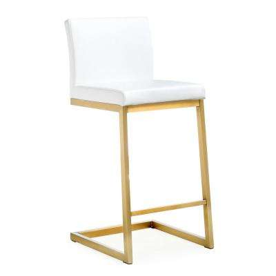 Parma 36.2 in. White and Gold Steel Counter Stool