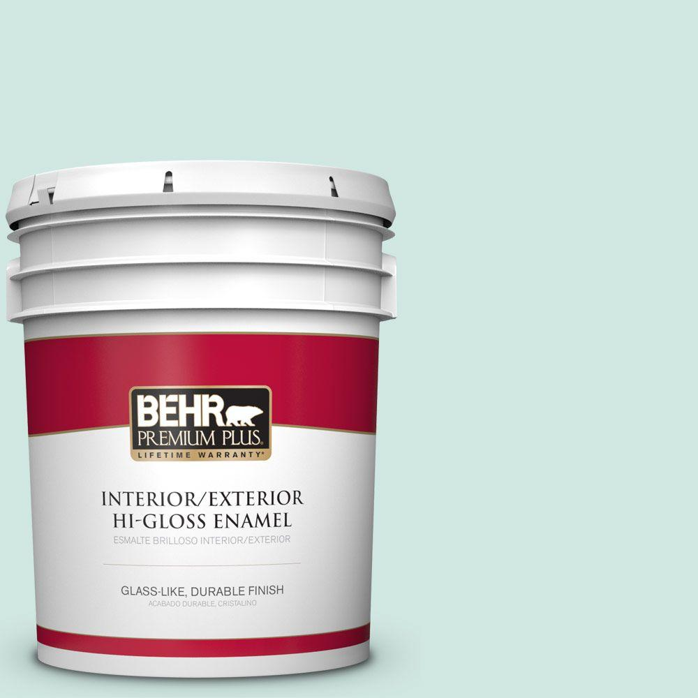 behr premium plus 5 gal home decorators collection hdc ct 26a seaglass hi gloss enamel. Black Bedroom Furniture Sets. Home Design Ideas