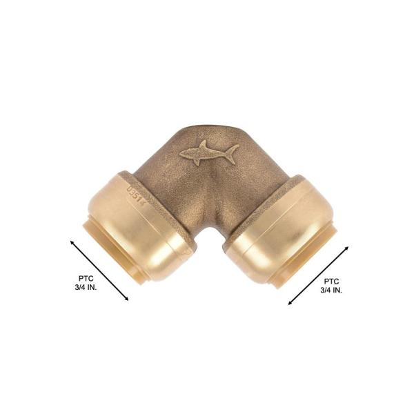 Sharkbite 3 4 In Push To Connect Brass 90 Degree Elbow Fitting U256lfa The Home Depot