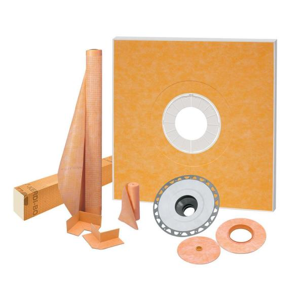Kerdi-Shower 48 in. x 48 in. Shower Kit with PVC Flange