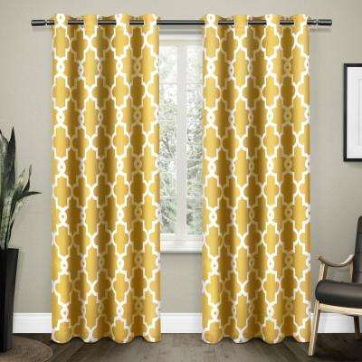 Ironwork 52 in. W x 96 in. L Woven Blackout Grommet Top Curtain Panel in Sundress Yellow (2 Panels)